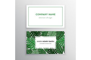 Business cards gold and colorful design, tropical leaf. Vector illustration.