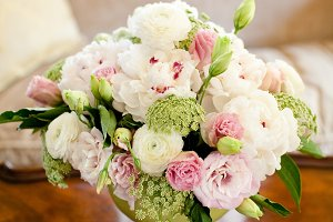 Pink white & green flower arrangemen