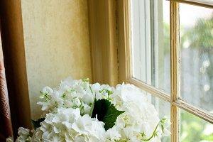 Hydrangeas in Blue vase