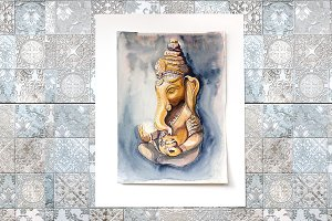 Yoga print Ganesha watercolor