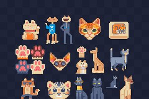 Cats. Pixel art icons