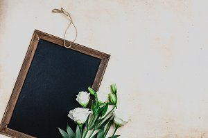 blackboard in wooden frame