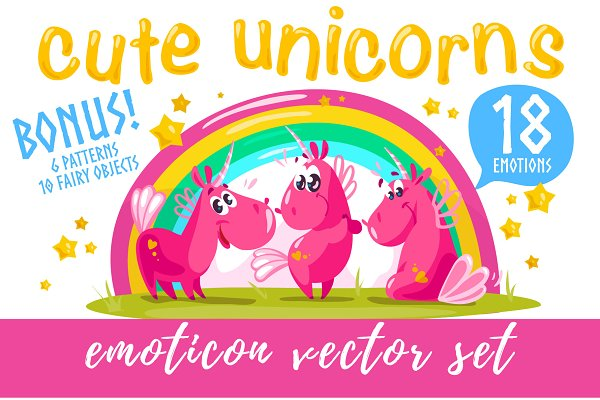 18 unicorn emoticon + bonus, PNG EP…