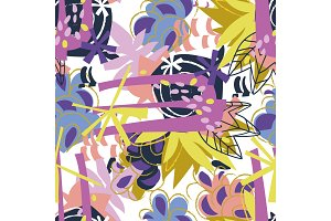 Abstract floral elements paper collage