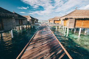 Jetty leading to water villas. Maldi
