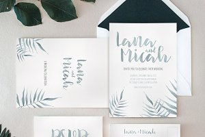 Watercolor Foliage Invitation Suite