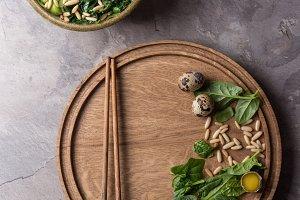 Green noodles bowl