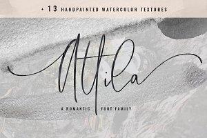 Attila Script + Watercolor Textures