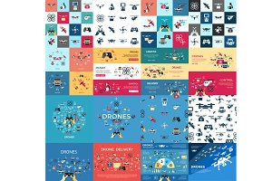 Vector bundle drone icons graphic