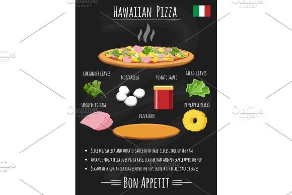Hawaiian Pizza Recipe On Chalkboard