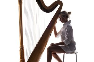Studio shot of harp player.