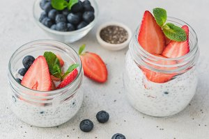 Chia pudding with strawberries