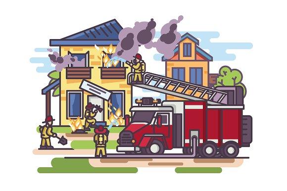 Firemen and fire truck