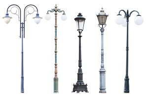 Vintage street lamp posts isolated