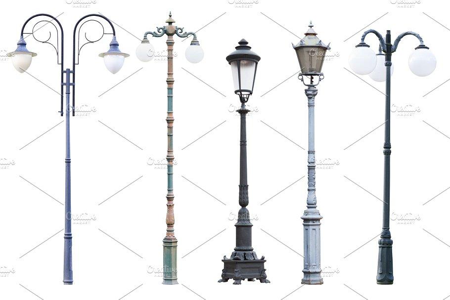 vintage street lamp posts isolated photos creative market