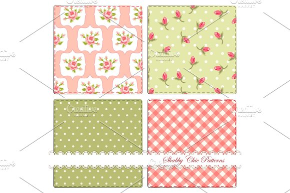 Set of four cute retro patterns in shabby chic style