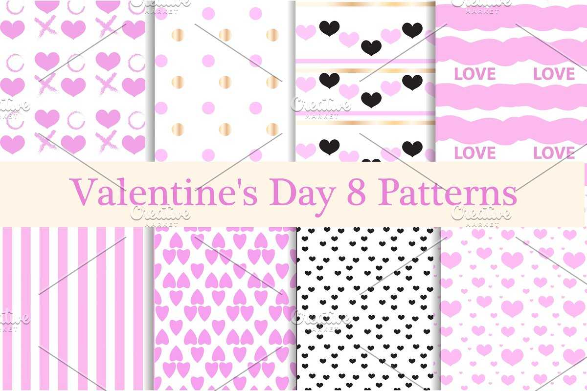 Valentines Day seamless pattern set. Hearts endless background, texture. Collection of paper. vector illustration