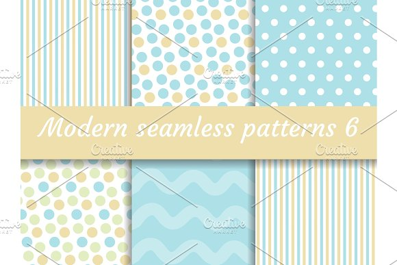 Polka Dot Strips Wave Seamless Pattern Set Digital Paper Collection Modern Style Scrapbooking Kit Vector Illustration