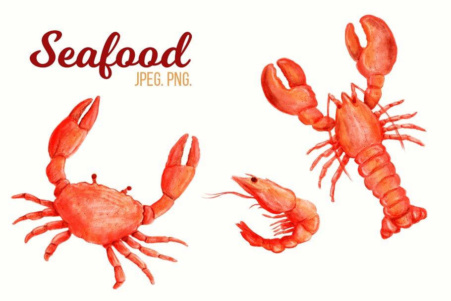 Cartoon seafood