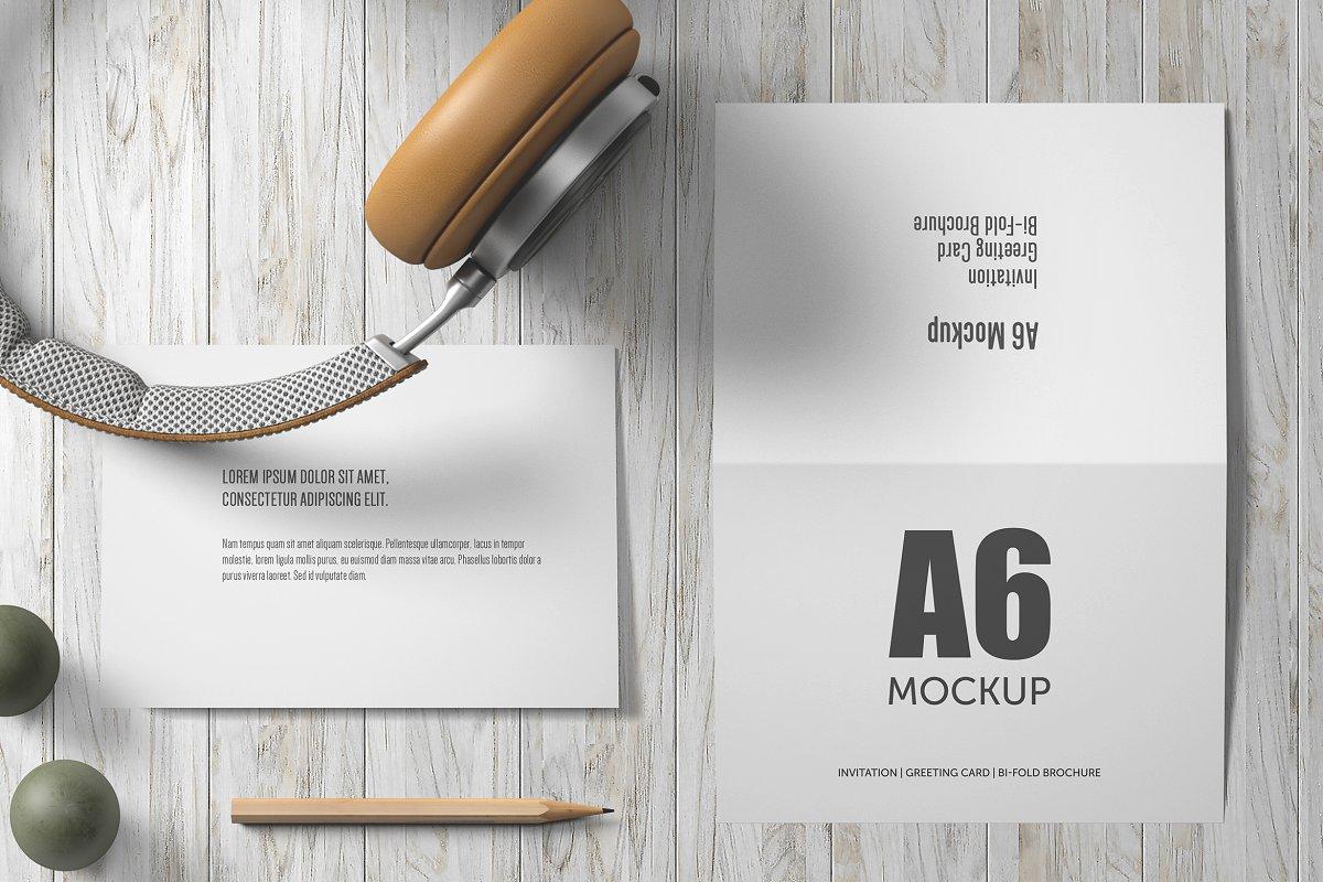A6 Bi Fold Greeting Card Mock Up Product Mockups