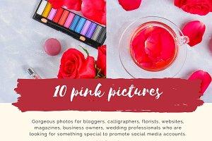 10 photos with rose petals, macaroon