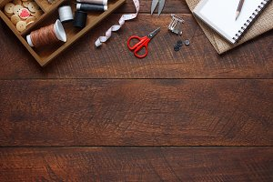 Top view designer & tailor tools.