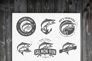 Vintage salmon fishing logos