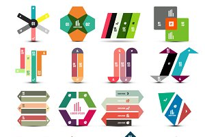 16 paper infographic designs set 1