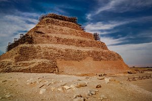Exterior view to step pyramid of Zoser, Saqqara, Egypt