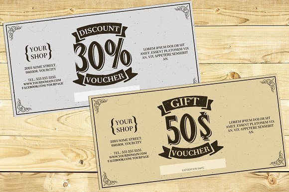 Vintage Gift Card Voucher Template Card Templates Creative Market