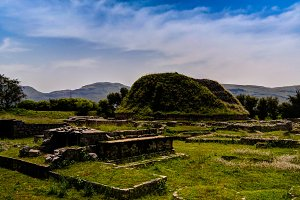 View of the Dharmarajika stupa in Taxila ruins Pakistan