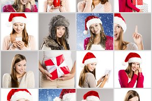 Christmas concept of faces.
