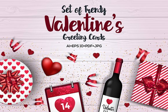 Trendy Valentines Day Greeting Cards