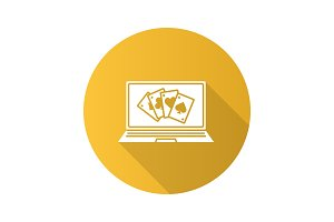 Online casino flat design long shadow glyph icon