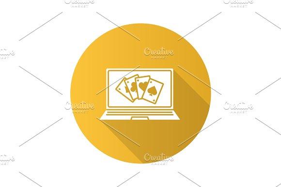 Online Casino Flat Design Long Shadow Glyph Icon