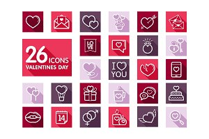 Valentine day set icons