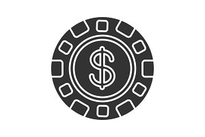 Casino chip glyph icon