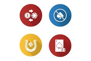 Casino flat design long shadow glyph icons set