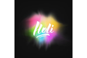 Holi. Colorful vibrant gulal powder explosion and Holi lettering. Holi festival of colors, spring, love