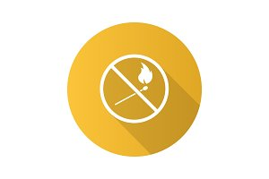 Forbidden sign with burning matchstick flat design long shadow g