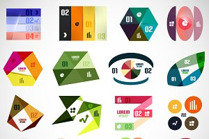 16 paper infographic designs set 4