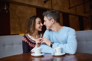 couple in love on a date in cafe in Valentines day