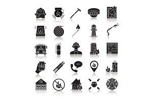 Firefighting drop shadow black glyph icons set