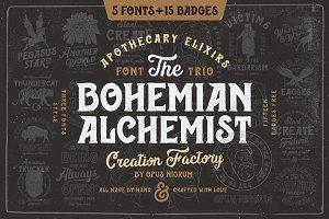 Bohemian Alchemist 5 Font + 15 Badge