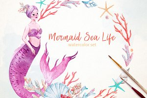 "Watercolor set of ""Mermaid Sea Life"""