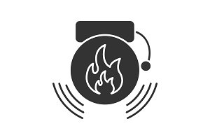 Fire alarm glyph icon