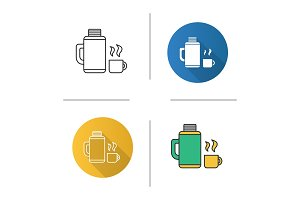 Thermos with cup icons set
