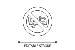 Forbidden sign with truck linear icon