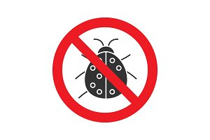 Forbidden sign with ladybug glyph icon