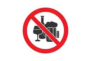 Forbidden sign with alcohol drinks glyph icon